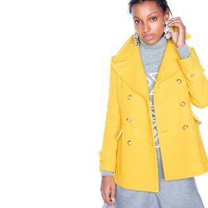 J Crew Majesty Yellow Gold Petite Peacoat for sale